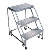 "Serrated 4 Step 24""W Aluminum Rolling Ladder 10""D Top Step, Spring Loaded - A4S30G"