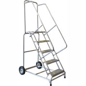 "6 Step 24""W Aluminum Wheelbarrow Ladder - Heavy Duty Serrated Grating"