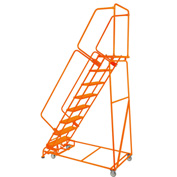 "Perforated 24""W 8 Step Steel Rolling Ladder 14""D Top Step W/Handrails Lock Step Orange - FS083214P-O"