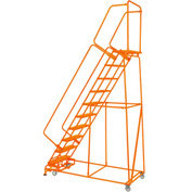 "Perforated 24""W 10 Step Steel Rolling Ladder 14""D Top Step W/Handrails Lock Step Orange -FS103214P-O"