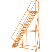"Perforated 24""W 12 Step Steel Rolling Ladder 14""D Top Step W/Handrails Lock Step Orange -FS123214P-O"