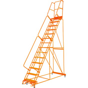 "Perforated 24""W 15 Step Steel Rolling Ladder 14""D Top Step W/Handrail Lock Step Orange - FS154014P-O"