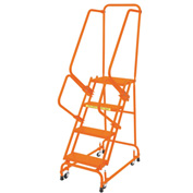 "Perforated 16""W 4 Step Steel Rolling Ladder 14""D Top Step W/ Handrails - Orange - FSH418P-O"