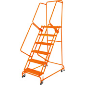 "Perforated 16""W 6 Step Steel Rolling Ladder 14""D Top Step W/ Handrails - Orange - FSH618P-O"