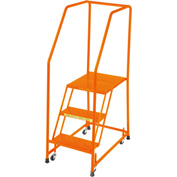 "Perforated 16""W 3 Step Steel Rolling Ladder 10""D Top Step W/ Handrails - Orange - H318P-O"