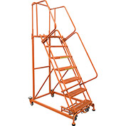 7 Step Orange Extra Heavy Duty Steel Rolling Ladder - Serrated Grating