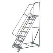 "8 Step 16""Wx71""D Stainless Steel Rolling Safety Ladder - Perforated Tread"
