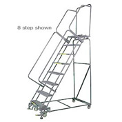 "9 Step 24""Wx84""D Stainless Steel Rolling Safety Ladder - Perforated Tread"
