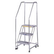 "3 Step 16""W Stainless Steel Rolling Ladder W/ Rails - Heavy Duty Serrated Grating"