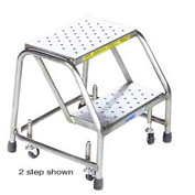 "3 Step 24""W Stainless Steel Rolling Ladder W/O Rails - Heavy Duty Serrated Grating"