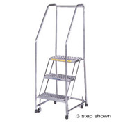 "5 Step 24""W Stainless Steel Rolling Ladder W/ Rails - Heavy Duty Serrated Grating"