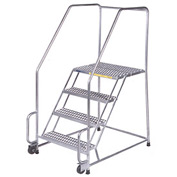"4 Step 16""W Stainless Steel Tilt and Roll Ladder - Heavy Duty Serrated Grating"