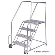 """5 Step 16""""W Stainless Steel Tilt and Roll Ladder - Heavy Duty Serrated Grating"""