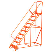 """11 Step 24""""W Steel Safety Angle Orange Rolling Ladder W/ Handrails, Perforated Tread - SW1132P-O"""