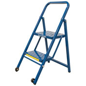 2 Step Thin Line Folding Step Ladder, 300 lb. Capacity, Blue - TL218