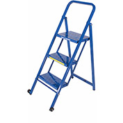 3 Step Thin Line Folding Step Ladder, 300 lb. Capacity, Blue - TL318