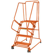 Ballymore 3 Step Steel Orange Tilt And Roll Ladder with Expanded Tread - TR-3-X-O