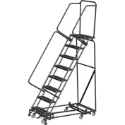 "8 Step Steel All-Directional Safety Rolling Ladder Weight Actuated Lock 24"" Serr. Step-WA-AD-083214G"