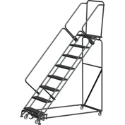 "7 Step Steel Safety Stairway Slope Rolling Ladder Weight Actuated Lock 24""W Serr. Step-WA-SW73214G"