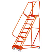 "7 Step Steel Safety Rolling Ladder W/ Weight Actuated Lock 16""W Serrated Step Orange - WA072414G-O"