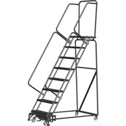 "14 Step Steel Safety Rolling Ladder W/ Weight Actuated Lock Step 24""W Perforated Step - WA144014P"