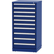 """Borroughs Modular Cabinet, MDC-0006-0202, 30x29-1/4x59"""", 10 Drawers, 168 Compts, Blue"""