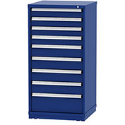 """Borroughs Modular Cabinet, MDC-0007-0202, 30x29-1/4x59"""", 9 Drawers, 140 Compts, Blue"""