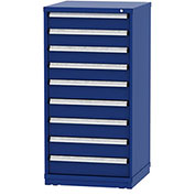 """Borroughs Modular Cabinet, MDC-0008-0202, 30x29-1/4x59"""", 9 Drawers, 108 Compts, Blue"""