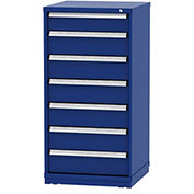 "Borroughs Modular Cabinet, MDC-0009-0202, 30x29-1/4x59"", 7 Drawers, 128 Compts, Blue"