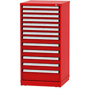 """Borroughs Modular Cabinet, MDC-0029-0505, 30x29-1/4x59"""", 13 Drawers, 256 Compts, Red"""