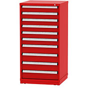 """Borroughs Modular Cabinet, MDC-0031-0505, 30x29-1/4x59"""", 10 Drawers, 168 Compts, Red"""