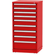"""Borroughs Modular Cabinet, MDC-0032-0505, 30x29-1/4x59"""", 9 Drawers, 140 Compts, Red"""