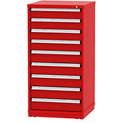 """Borroughs Modular Cabinet, MDC-0033-0505, 30x29-1/4x59"""", 9 Drawers, 108 Compts, Red"""