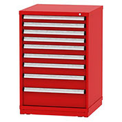"Borroughs Modular Cabinet, MDC-0036-0505, 30x29-1/4x44"", 9 Drawers, 183 Compts, red"
