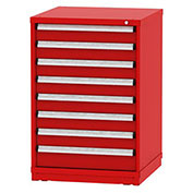 "Borroughs Modular Cabinet, MDC-0037-0505, 30x29-1/4x44"", 8 Drawers, 160 Compts, Red"