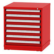 "Borroughs Modular Cabinet, MDC-0041-0505, 30x29-1/4x33"", 7 Drawers, 152 Compts, Red"