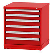"Borroughs Modular Cabinet, MDC-0042-0505, 30x29-1/4x33"", 6 Drawers, 150 Compts, Red"