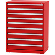 "Borroughs Modular Cabinet, MDC-0048-0505, 45x29-1/4x59"", 9 Drawers, 135 Compts, Red"