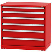 "Borroughs Modular Cabinet, MDC-0051-0505, 45x29-1/4x44"", 6 Drawers, 152 Compts, Red"