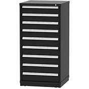 "Borroughs Modular Cabinet, MDC-0058-0606, 30x29-1/4x59"", 9 Drawers, 108 Compts, Black"
