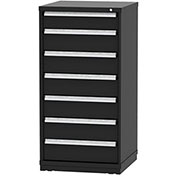 "Borroughs Modular Cabinet, MDC-0059-0606, 30x29-1/4x59"", 7 Drawers, 128 Compts, Black"