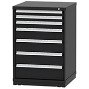 "Borroughs Modular Cabinet, MDC-0063-0606, 30x29-1/4x44"", 7 Drawers, 137 Compts, Black"