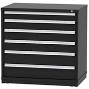"Borroughs Modular Cabinet, MDC-0076-0606, 45x29-1/4x44"", 6 Drawers, 152 Compts, Black"