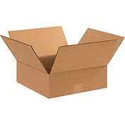"Flat Corrugated Boxes 11"" x 11"" x 4"", 200 lb. Test/ECT-32 Kraft - 25 Pack"