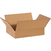 "Flat Corrugated Boxes 14"" x 10"" x 3"", 200 lb. Test/ECT-32 Kraft - 25 Pack"