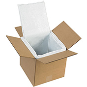 "Deluxe Insulated Foam Box Liners 8"" x 8"" x 8"" for 10"" x 10"" x 10"" Corrugated Box 5 Pack"