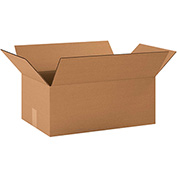 "Cardboard Single Wall Corrugated Box 19"" x 12"" x 7"" 200Lb. Test/ECT-32 Kraft - 25 Pack"