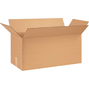 "Cardboard Single Wall Corrugated Box 24"" x 10"" x 12"" 200Lb. Test/ECT-32 Kraft - 25 Pack"