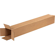 "Tall Corrugated Boxes 4"" x 4"" x 32"", 200 lb. Test/ECT-32 Kraft - 25 Pack"