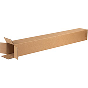 "Tall Corrugated Boxes 4"" x 4"" x 38"", 200 lb. Test/ECT-32 Kraft - 25 Pack"